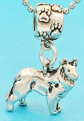 3 D  Border Collie Dog Breed Slider Charm  Silver plated solid Pewter