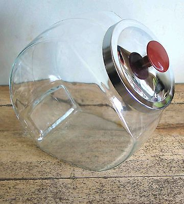 Glass General Store Counter Top Slant Canister Jar Donut Cracker Candy Display