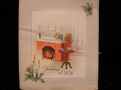 """VINTAGE """"THE HOLIDAYS BRING THOUGHTS OF YOU!!"""" CHRISTMAS GREETING CARD"""