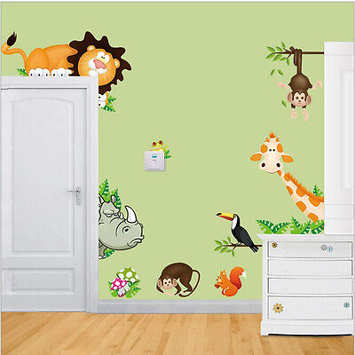 Animal lion monkey Squirrel wall stickers decals room kid decor Removable gift