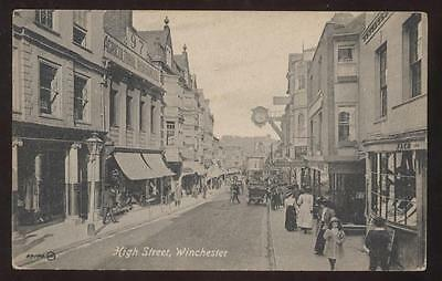Postcard Winchester, England High Street Storefronts 1907?