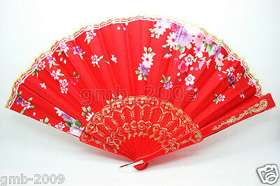 Victorian Style Red Hand Held Golden Lace Folding Flower Party Wedding Decor Fan
