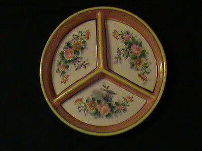 Antique Hand painted Sectional Bowl 1921-1941 Japan Orange/Yellow collectible