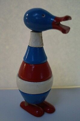 Vintage Wooden Stacking Ring Duck Toy Wood Ring Red White & Blue
