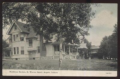 Postcard ANGOLA Indiana/IN  South Wayne Street Houses/Homes view 1907