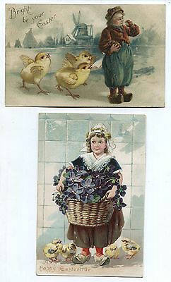 Lot of 2 Early 1900's Easter Postcards Dutch Boy & Dutch Girl with Chicks