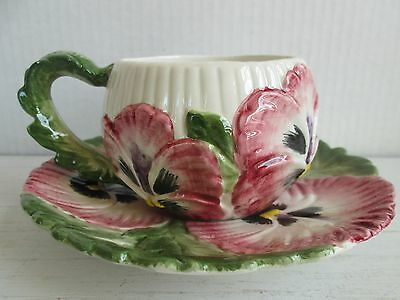 Vintage Fitz & Floyd April Flowers Teacup and Saucer Red Pansy    GC