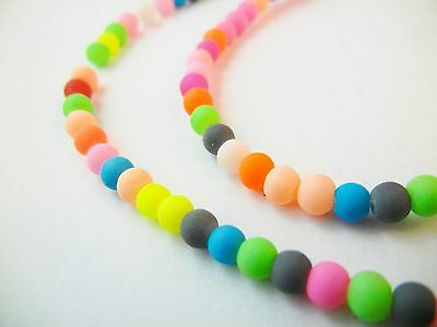 200pc 4mm Rubberized Frosted Glass Neon Round Beads (PR019)