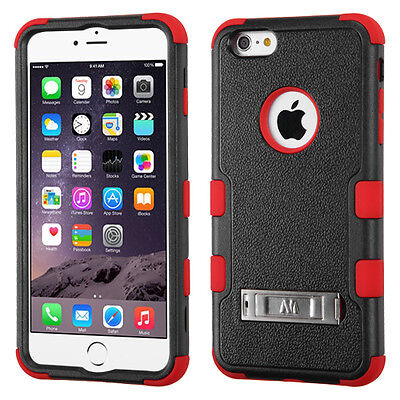for APPLE iPhone 6 PLUS BLACK RED SILVER STAND COVER CASE + CLEAR SCREEN FILM