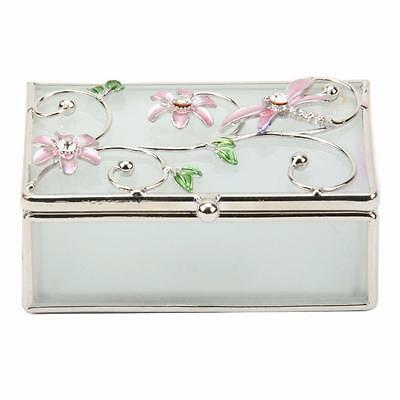Pink Dragonfly and Diamante Glass Trinket Box Gift 14396