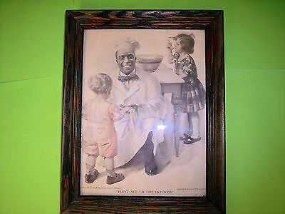 Antique Vintage 1920 Cream of Wheat Ad Ladies Home Journal W V Cahill Oak Framed