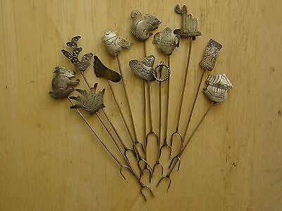 Set of 12 Mid-Century Vintage Sterling Silver Taxco Mexico Cocktail Picks/Forks