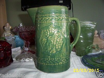 ANTIQUE MCCOY YELLOWARE GREEN GRAPE&LEAF BEER PITCHER