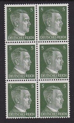 3rd Reich Nazi Germany WW2 MNH** 1941 Hitler Head Issues Block of 6 5pf