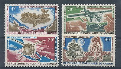 Congo (Brazzaville) 1970 Air. History of Flight and Space Travel set of 4