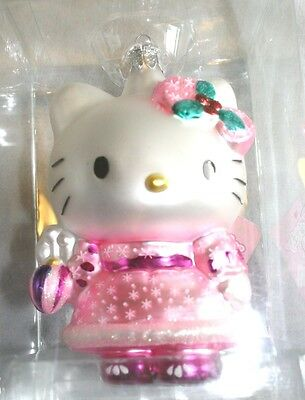 Hello Kitty Blown Glass Christmas Ornament---Pink Outfit-- NEW-NRFB