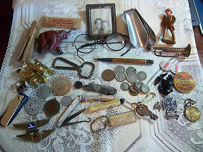 Junk Drawer Lot Vintage Coins Tokens Military Political Adv Key Knife Toy Pencil