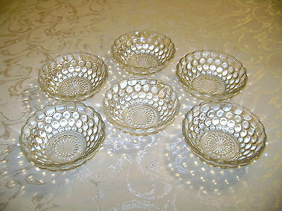 6 Vintage Bubble Fire King Crystal Clear Berry Bowls Hocking Glass Co