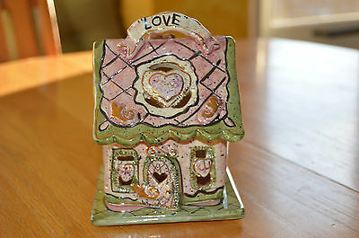 """NEW IN BOX """"Love House"""" Candle Tealite house Base RETIRED 2001 Heather Goldminc"""