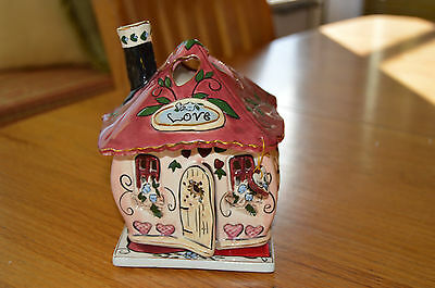 """NEW IN BOX """"Love House"""" Candle Tealite house Base RETIRED 2003 Heather Goldminc"""