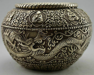 Collectible Decorated Old Handwork Tibet Silver Carved Dragon Exorcism Pot
