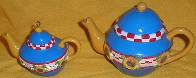Mary Engelbreit Lot of 2 Bright Vivid Sunflower Teapots Ornament & Trinket Box