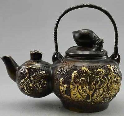 Collectible Decorated Old Handwork Red Copper Carved 8 Immortal Gourd Tea Pot