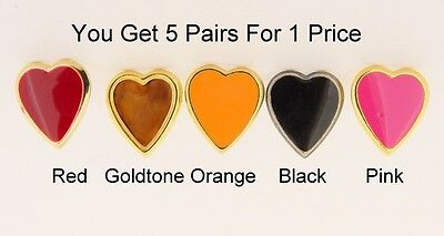 5 Different Pairs of Heart Stud Earrings For 1 Low Price