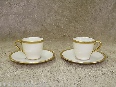 Lenox WINDSOR Ivory Gold China 2 Demitasse Cup & Saucers - Higgins & Seiter