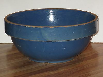 Large Antique Blue Stoneware Mixing Or Serving Bowl With Wide Rim