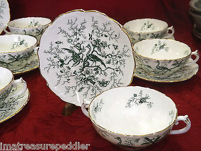 Coalport Cairo Green 10 Cream Soup Cup Saucers  - Raised Edge Birds Flowers Gold