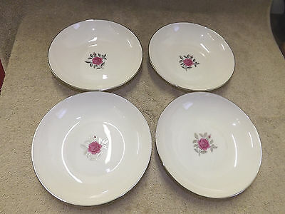 Lenox Ballad 4 Coupe Soup Bowls-  Ivory Platinum Band Pink Rose
