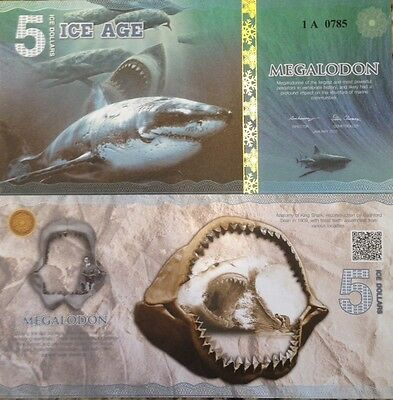 2015 5 Ice Dollars Ice Age Fantasy Note Megalodon Shark Buy From A Usa Seller !!