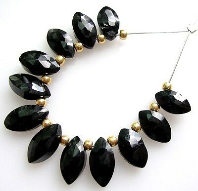 12 GENUINE BLACK SPINEL FACETED MARQUISE BRIOLETTE BEADS 8 mm  B15