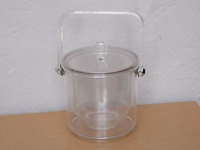 Clear Lucite Round Ice Bucket  Mid Century Modern Mod Vintage Retro Acrylic