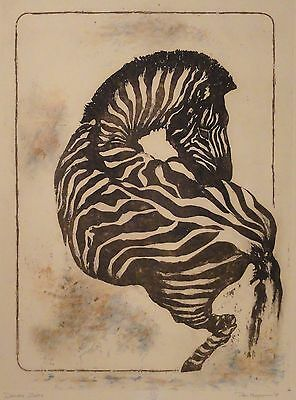 Mid Century 1978 Don Magno Original Zebra Etching LE 20/125 Signed Numbered