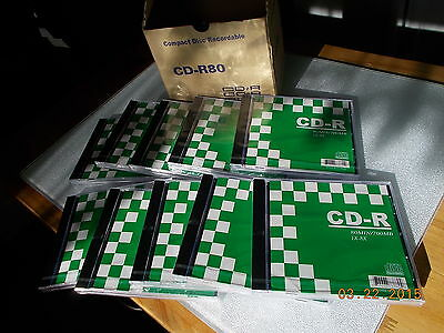 New Box of 10 CD-R80 CDR Disks, 700MB/ 80 Min. 1X-8X with Individual Jewel Cases