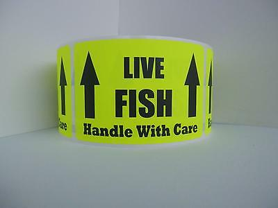 LIVE FISH HANDLE WITH CARE Warning Sticker Label fluor chartreuse bkgd 250/rl