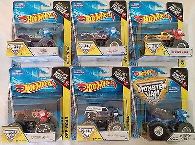 MONSTER JAM by HOT WHEELS LOT OF SIX MONSTER TRUCKS 1:64 SCALE OFF-ROAD DIE-CAST