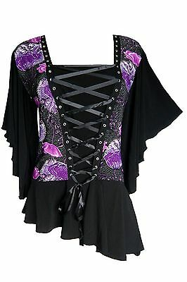 ALCHEMY Butterfly Sleeve Violet Poppy Corset Top Plus Size 5XL 5X 28