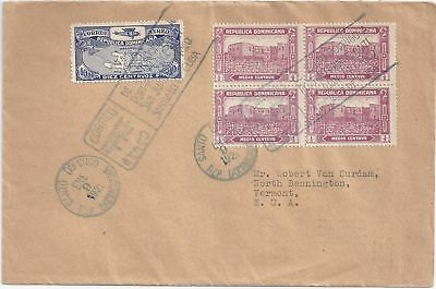Dominican Rep. USA 1929, Erstflug Brief m. attraktiver Frankatur. #1291