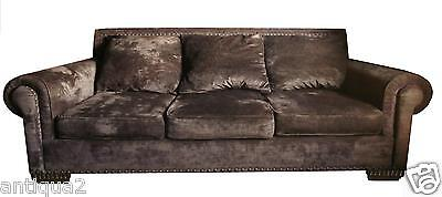 CUSTOM MADE ACID WASHED CHENILLE RENAISSANCE DECO HOLLYWOOD REGENCY SOFA