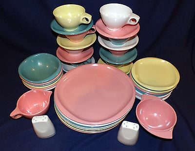 Lot Of 42 Vintage BOONTON Ware Colorful Melmac Plates Bowls Cups