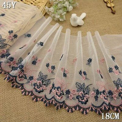 1Y/6Y White Tulle Colorful Embroidery Floral Lace Fabric Trim DIY Doll L1993