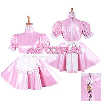 Special offer-lockable Faux leather Sissy Maid  dress Tailor-made [G1424]
