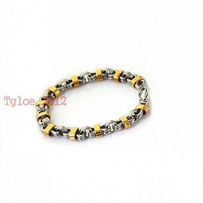New 10mm*9inch Silver Gold Two-tone Stainless Steel Square Chain Mens Bracelet