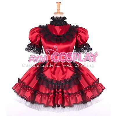 Special offer- lockable Satin Sissy Maid  dress Tailor-made [G797]