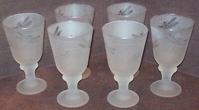 6 FROSTED GLASS DRAGONFLY Large 12 oz Footed Water Tea  Goblets