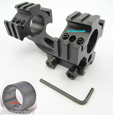 "Tri-Rail Cantilever 20mm Rail Mount Dual 30mm & 1"" 25mm Ring For Scope/Rifle #01"