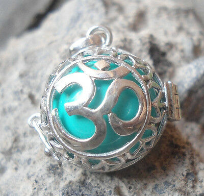 New-925 Sterling Silver Harmony Ball Pendant OM Carved Green Ball Musical